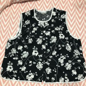 🌈3X Black Floral Sleeveless Sheer Blouse